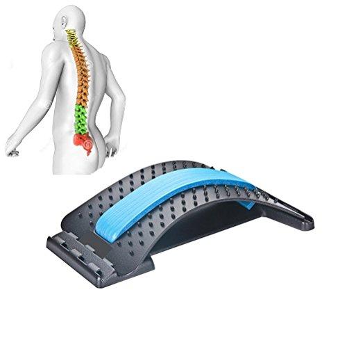 JIAL-SMEIL Masajeadores de Espalda para enderezar la Espalda y Las lumbares, Dispositivo de Estiramiento Lumbar,Alivio de Dolor de Espalda ciática,Hernias discales ([Panel Negro] - Azul)