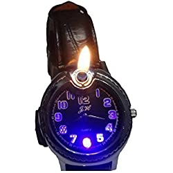 UK A2Z ® Men's Gadget Wrist Watch Cigarette Flame Lighter with Illuminating LED ★ Black Dial face ★ Black leather faux Strap ★ Novelty Watch Lighter ★