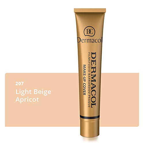 ake-up Cover für Gesicht und Hals - Wasserfeste Foundation mit LSF 30 für einen makellosen Teint - Stark deckendes helles Light Beige Apricot 207, 30g ()