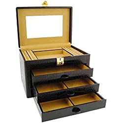 3 drawer leather jewelry box engraved coconut Size: U Color: BLACK