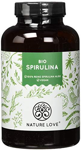 NATURE LOVE® Bio Spirulina Presslinge. 100% reine Bio Spirulina Alge ohne Zusätze. 500 Tabletten. Hochdosiert mit 6.000mg Bio Spirulina je Tagesdosis. Vegan, laborgeprüft & hergestellt in Deutschland