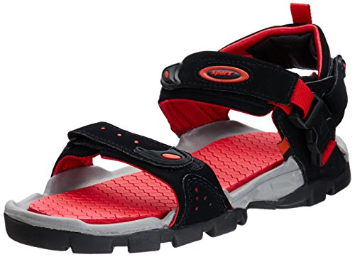 Sparx Men's Black and Red Synthetic Sandals & Floaters (SS0502G) - 9 UK
