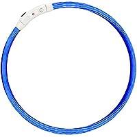 [Gesponsert]LED Hundehalsband- Fraelc Halsband Hund LED USB Wiederaufladbar Längenverstellbarer Blinkende Haustier Sicherheit Kragen für Hunde und Katzen - Blau 27,56 Zoll / 70cm