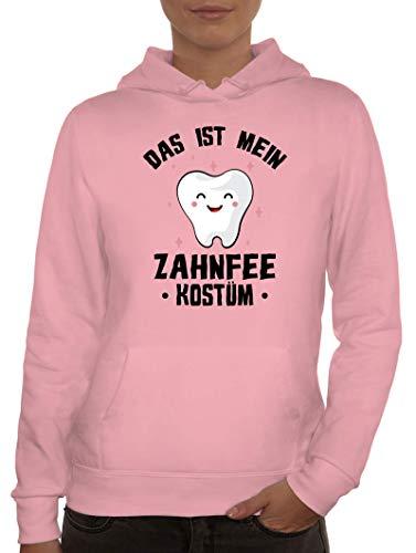ShirtStreet lustige Karneval Gruppen Paar Verkleidung Damen Hoodie Frauen Kapuzenpullover Fasching - Das ist Mein Zahnfee Kostüm, Größe: S,rosa