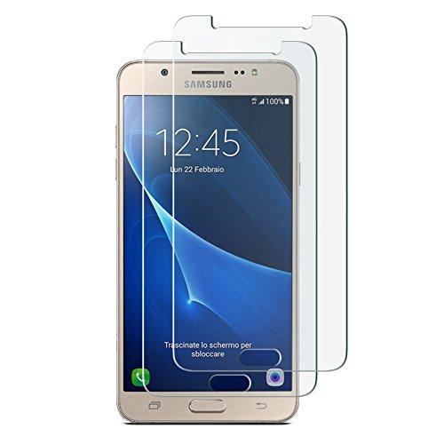 Preisvergleich Produktbild [2 Stück] Samsung Galaxy J5 2016 Panzerglas Schutzfolie,  Hepooya Galaxy J5 2016 Displayschutzfolie Gehärtetem Glas 9H Härtegrad,  99% Transparenz Full HD,  Anti-Kratzen,  Einfaches Anbringen