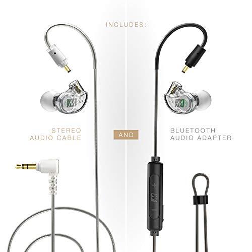 MEE Audio M6 PRO 2.Generation Musiker In-Ear-Monitore verkabelt + kabelloses Kombi-Pack: inkl. Stereo-Audiokabel und Bluetooth-Audio-Adapter (klar)