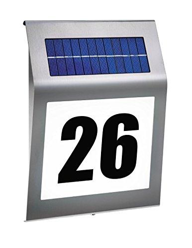 KOBWA Solar Hausnummernleuchte, LED Solar Lichtsensor Lampe Licht mit Zahlen Buchstaben LED Beleuchtung Aus Edelstahl
