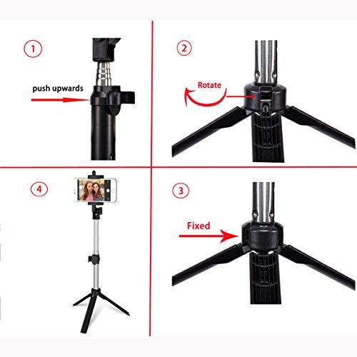 Anggo kabelloser Bluetooth Selfie-Stick, ausziehbar, mit Fernbedienung und integriertem Stativ für Reisen, Heim-Videos - kompatibel mit iPhone, Samsung, Android Handys - 4