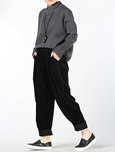 Vogstyle Damen Herbst/Winter Beiläufige Baumwoll Cordhose mit Taschen Art 1 Schwarz