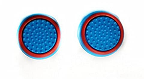 Stillshine Silicone Thumb Grips Caps Stick Protect Cover for PS2, PS3, PS4, Xbox 360, Xbox One, Wii U tablet Controllers (Blue red 2PC)