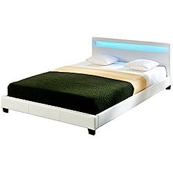 Corium® Lit capitonné à LED de (Paris) (Blanc)(140x200cm) lit Moderne, Cuir synthétique, avec sommier à Lattes