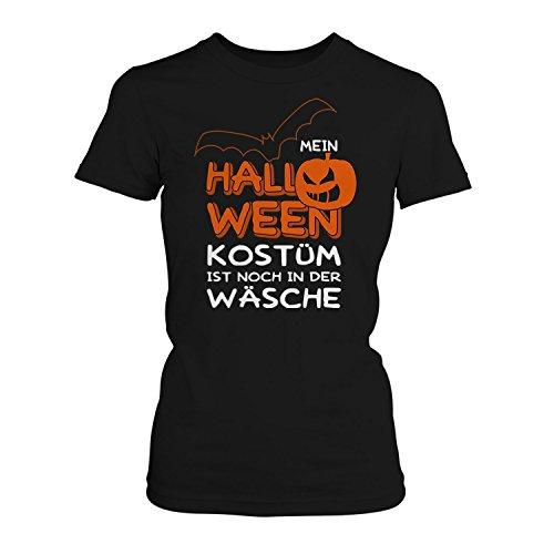 Mein Halloween Kostüm ist noch in der Wäsche - Damen T-Shirt von Fashionalarm | Spaß & Fun Shirt mit Spruch | Fledermaus & Kürbis | Kostüm Verkleidung Trick Treat Süßes Saures Oktober Reformationstag, Farbe:schwarz;Größe:M