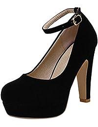 Scothen Señoras de las bombas de la correa del tobillo del estilete club Cierre con estiletes plataforma de la hebilla bombas cuero nobuck zapatos de tacón alto zapatos de tacón alto trabajo