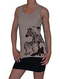 S&LU angesagtes Damen Tanktop mit tollem Zebra-Print und Nieten- und Strassbesatz