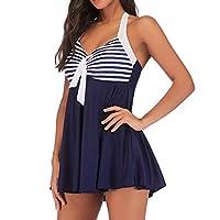 Women Plus Size Swimwear Padded up ❀ Ladies One Piece Swimsuit Striped Printed Beachwear Tankini White Friday Clearance Sale ! (Dark Blue, XXL)