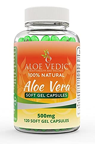 Aloevedic - 100 % Natural Aloe Vera Gel soft capsules - 500 mg ( 120 tablets ) -For Detox Digestion Metabolism and skin care