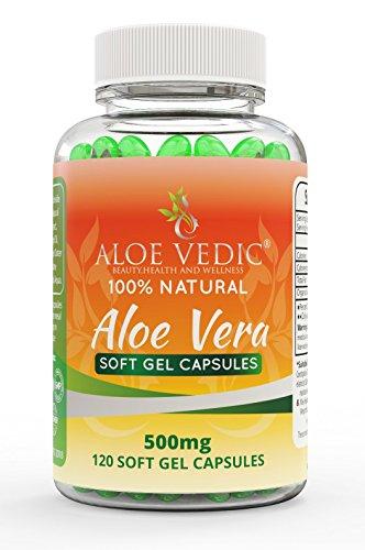 Aloe Vera 100% Naturale Capsule Integratore 500mg per Colon Cleanse Stomaco Capelli e Disturbi Digestivi Compresse Per Disintossicazione Metabolismo e Assistenza Sanitaria (120 Pillole Gel Morbide)