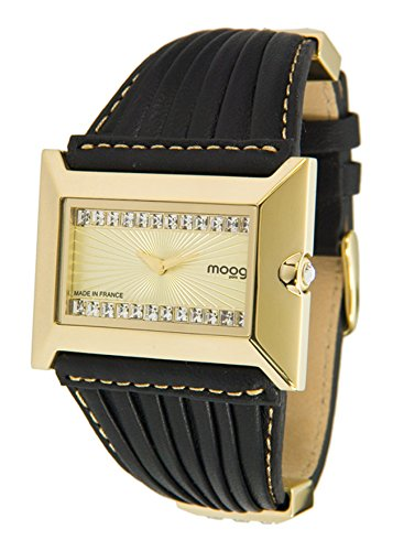 Moog Paris Temptation Women's Watch with Champagne Dial, Black Genuine Leather Strap & Swarovski Elements - M45332-002