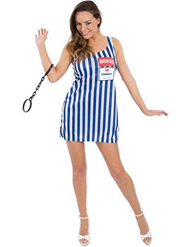 Sexy Damen Gefängnis Verurteilte Gefangene Outfit Billig Kostüm (Damen Jailbird Kostüm)