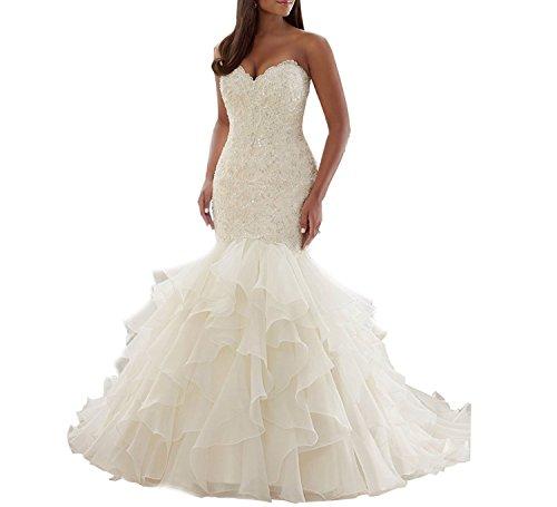Izanoy Plus Size Hochzeitskleid Trägerlos Meerjungfrau Formale kleider mit Perlen Weiß DE 38