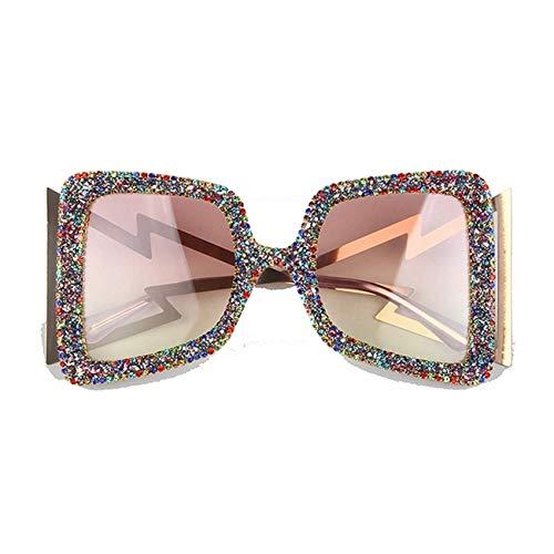 Klassische Sportsonnenbrille, Oversize Sunglasses Women Big Wide Temple Bling Stones UV400 Glasses Oculos