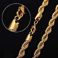 SeniorMar joyería de los Hombres de Moda Colgante Twist Collar de Oro par único - Oro