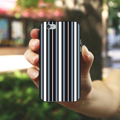 Apple iPhone 5s Housse Étui Protection Coque Bandes Tissu Motif Housse en silicone noir / blanc