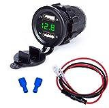 Adaptateur Prise 2 Ports USB Allume Cigare Chargeur Pour Auto voiture moto Voiture 12 / 24V Ligne dalimentation et connecteur 3.1A Vert