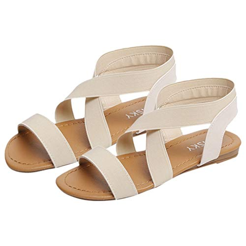TianWlio Sandalen Damen Sommer Anti Rutsch Strandschuhe mit Niedrigem Absatz und Riemen mit Peep Toes Beige 41