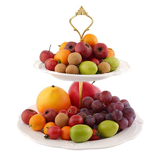 Obstteller Schüssel Keramik Kuchen Dessert Ständer 2 Etagen Serviertablett Cupcake Dessert Gebäck mit runder Glasplatte für Geburtstag, Party, Hochzeit, Zuhause weiß von SOPRETY (Geburtstag-kuchen-und Cupcake-ständer)
