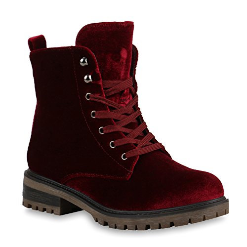 Damen Stiefeletten Worker Boots Samtoptik Schnürstiefel Schuhe Dunkelrot