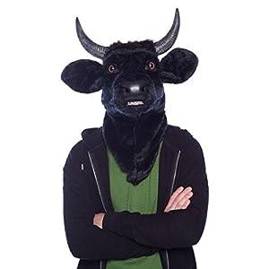 Moving Mouth Mask 21762Cabeza de Toro Toro Vaca Deluxe Animales Máscara, Negro, One Size