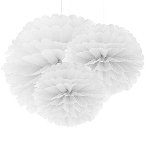 ebuybox® 30er Weiss Papier PomPom Blumen Kugel 20/25/37cm Hochzeit Garten Wohnung Fest Feier Party Geburtstag Deko (Weiße Kugel)