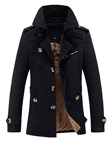 Menschwear Herren Jungen Übergangsjacke Langarm Trenchcoat Winterjacke Wärmemantel Mantel Kurzmantel Einreihig Jack Anzug (XL,Schwarz) (Mädchen Snowboard-anzug)