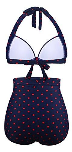 Angerella Retro Halter Neck Polka-Punkt Badeanzug mit Hoher Taille Bikini Set Navy
