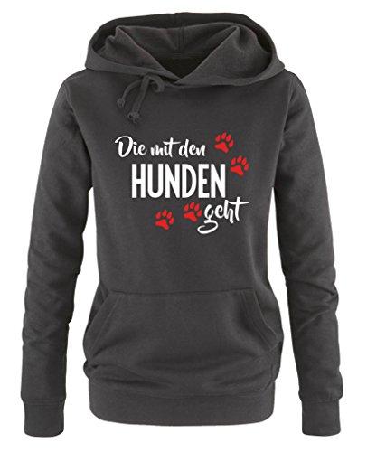 Comedy Shirts - Die mit den Hunden geht - Damen Hoodie - Schwarz / Weiss-Rot Gr. M