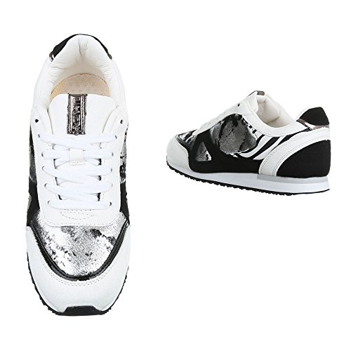 Ital-Design , Baskets pour femme blanc/noir
