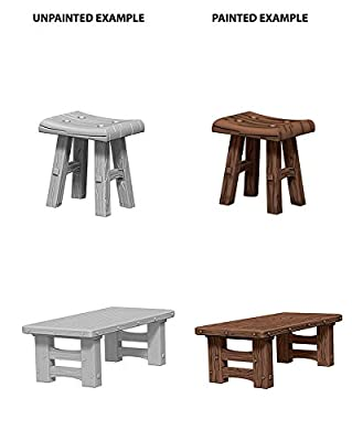 Deep Cuts Unpainted Miniatures: Wooden Table and Stools