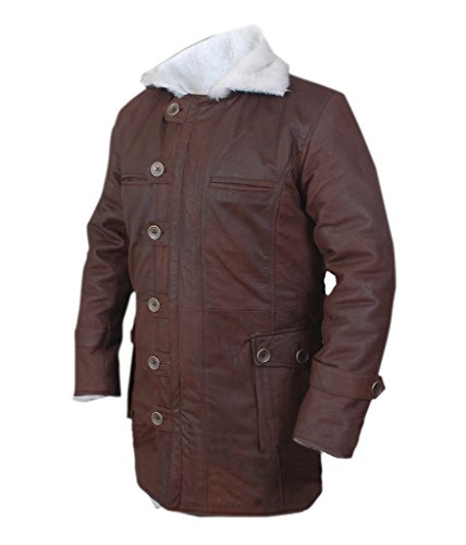 F&H Men's Bane Genuine Stonewash Leather Shearling Coat brown