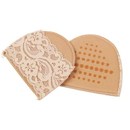 2 Paar hautfarbe Polyester Faser Spitze Vorfußkissen Waschbar Wiederverwendbare High Heel Anti-Rutsch-Stoßdämpfung Pads Schmerzlinderung Einlegesohlen Schuhe Einsätze für Frauen -