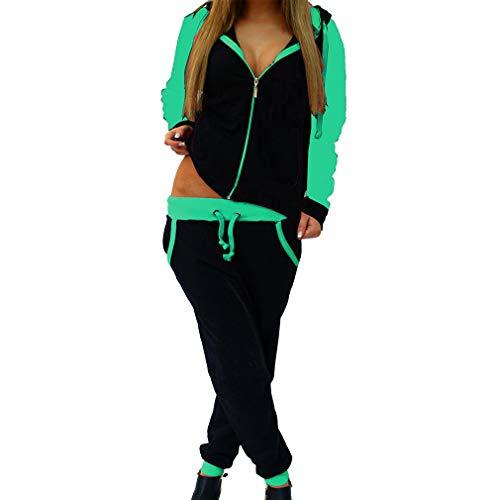Hibote 2 stücke Set Damen Sportbekleidung Anzüge Sport Anzug Sexy Sweatshirts Hosen Lose Trainingsanzüge Grasgrün 2XL