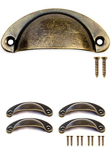 Fuxxer–4x cassetti manopole conchiglie di bronzo antico ferro design | per schieber ante buffets truhen kommoden cucina in stile vintage rustico retrò | 80x 36mm con 8viti confezione da pezzi
