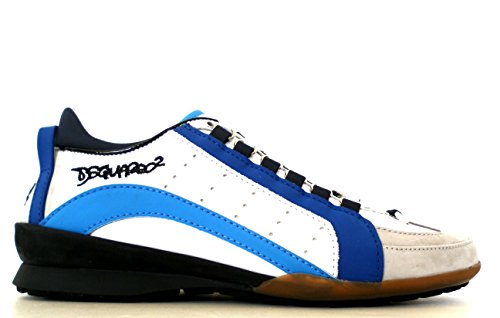 DSQUARED Scarpe Sneaker Uomo Vitello Sport S17SN434 714 M585 Blu + Azzurro (42.5 EU - 8.5 UK)