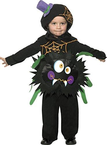 Kostüme Haloween Baby (Smiffys, Kinder Jungen Verrückte Spinne Kostüm, Überwurf mit Kapuze, Größe: T1 (Kleinkind Small),)
