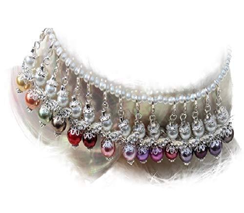 DIY-Bastelsets 10 + 1 Perlenengel in silber mit Zirkonia Flügel Schutzengel Glücksengel als Gastgeschenk für Hochzeit Taufe Kommunion Kindergeburtstag bunter Farbenmix -
