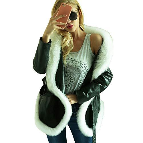 MEIbax Damen Winter warme Lederjacke Parka Outwear Mantel Revers Faux Für Plüschjacke Bomberjacke Casual Damenjacke Bikerjacke