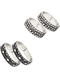 Frabjous Contemperory Pair Of 2 Plain Adjustable German Silver Toe Ring For Women