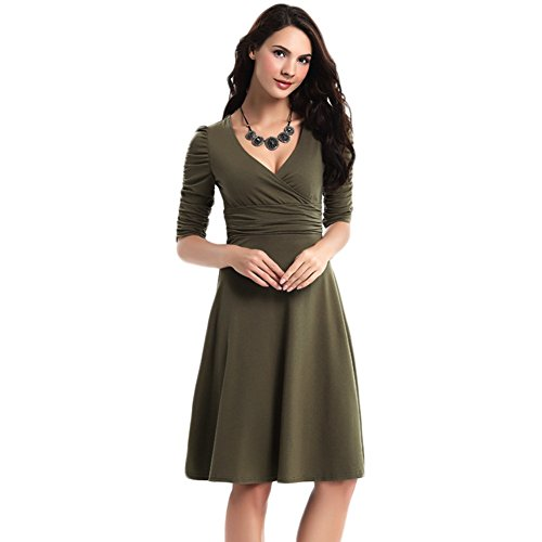 WintCo Damenkleid Party Büro Reise Fashion Kleid 1/2 Ärmel Kleid Dunkel kastanienbraun-6