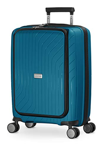 HAUPTSTADTKOFFER - TXL - Bagaglio a mano leggero con compartimento per laptop, Trolley rigido in robusto polipropilene, Valigia Cabina 55 cm, 40 L, serratura TSA, Blu Scuro