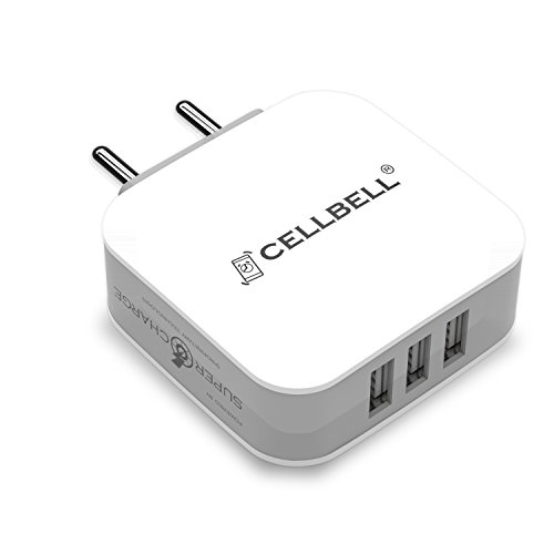 CELLBELL Supercharge 3.4A /17 Watts /3 USB Universal Wall Charger [ Indian Plugs / Multi Protect Features / With 1.2M – 2.4A Micro USB Cable] (White)